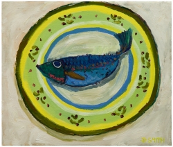 Blue Wrasse on a Floral Plate