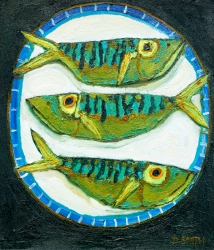 Three Green Fish on a Blue Plate