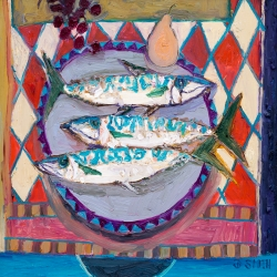 Three Mackerel on a Card Table