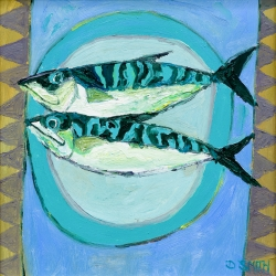 Two Fish on a Blue Plate